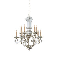 Domani 10 Light 27 inch Harlow Silver Leaf/Antique Mirror Chandelier Ceiling Light