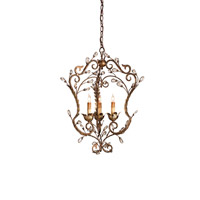 Currey & Company Melody 3 Light Chandelier in Cupertino/Gold Leaf 9225