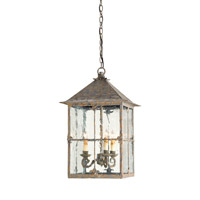 Currey & Company Bellamy 3 Light Lantern in Bark Brown 9231