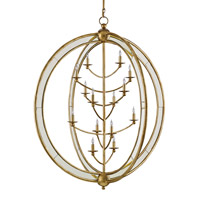 Aphrodite 14 Light 43 inch Gold Granello and Antique Mirror Chandelier Ceiling Light