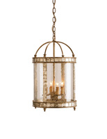 Currey & Company Corsica 4 Light Lantern in Harlow Silver Leaf 9239