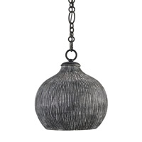 Currey & Company Commander 1 Light Pendant in Black Iron and Black 9241