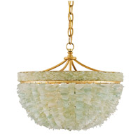 Currey & Company 9251 Bayou 3 Light 19 inch Contemporary Gold Leaf/Seaglass Chandelier Ceiling Light