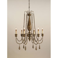 Currey & Company Eminence 6 Light Chandelier in Distressed Silver Leaf 9254