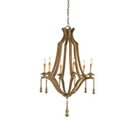 Currey & Company Simplicity 6 Light Chandelier in Washed Wood 9256