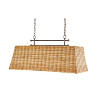 Currey & Company Basket 3 Light Chandelier in Rust and Natural 9257