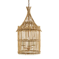 Currey & Company Tobago 3 Light Lantern in Khaki and Natural 9262