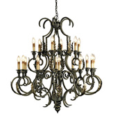 Currey & Company Sussex 18 Light Chandelier in Bronze Verdigris/Gold Leaf 9269 photo thumbnail