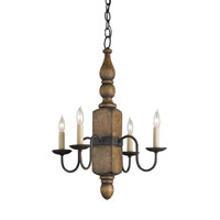 Currey & Company Knotsworth 4 Light Chandelier in Mole Black and Weathered Wood 9275