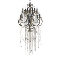 Currey & Company Antiquity 12 Light Chandelier in Old Iron/Aged Brass 9277