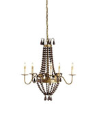 Currey & Company Nicolette 5 Light Chandelier in Rhine Gold/Dark Wood 9282