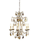Currey & Company Prelude 6 Light Chandelier in Silver Leaf 9285