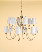 Currey & Company Orion 12 Light Chandelier in Silver Leaf 9289