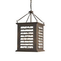 Currey & Company Passage 4 Light Hanging Lantern in Bronze Gold and Transparent Antique Mirror 9290