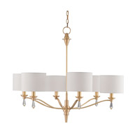 Currey & Company Bonnington 6 Light Chandelier in Satin Brass 9292
