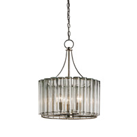 Currey & Company 9293 Bevilacqua 3 Light 18 inch Silver Leaf Chandelier Ceiling Light Small