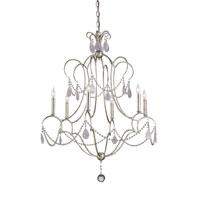 Currey & Company Delamere 6 Light Chandelier in Silver Granello/Amethyst Rock Crystal 9294