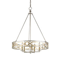 Currey & Company Fairchild 5 Light Chandelier in Contemporary Silver and Gold Leaf 9301