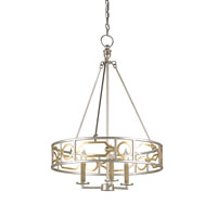 Currey & Company Fairchild 3 Light Chandelier in Contemporary Silver and Gold Leaf 9302