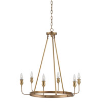 Currey & Company Trilogy 6 Light Chandelier in Antique Brass 9304