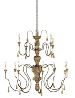 Currey & Company Mansion 12 Light Chandelier in Mansion Gold 9314