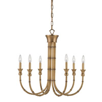 Imperial Bamboo 6 Light 26 inch Antique Brass Chandelier Ceiling Light