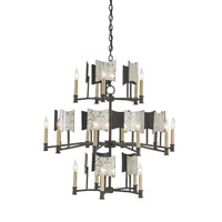 Currey & Company Catesby 20 Light Chandelier in Black Iron and Antique Mirror 9319