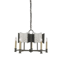 Currey & Company Catesby 5 Light Chandelier in Black Iron and Antique Mirror 9320