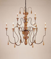Currey & Company Mansion 9 Light Chandelier in Mansion Gold 9324
