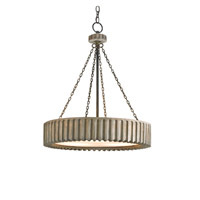 Currey & Company Greyledge 3 Light Chandelier in Old Iron/Washed Gray 9326