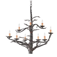 Currey & Company 9327 Treetop 9 Light 26 inch Old Iron Chandelier Ceiling Light