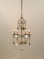 Currey & Company Kaleidoscope 4 Light Chandelier in Harlow Silver Leaf 9332 photo thumbnail