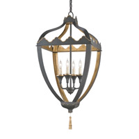 Currey & Company Beaumont 4 Light Hanging Lantern in Bel Air Black and Bel Air Gold 9341
