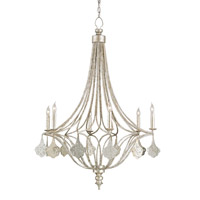 Currey & Company 9343 Lavinia 6 Light 30 inch Grecian Silver Leaf/Antique Mirror Chandelier Ceiling Light