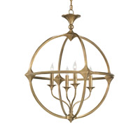Currey & Company Bellario 4 Light Chandelier in Antique Brass 9346