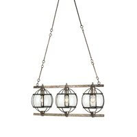 Currey & Company Broxton 3 Light Chandelier in Dirty Silver 9354