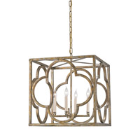 Currey and Company Cosette 4 Light Lantern in Peppercorn Gold 9360