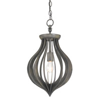Currey & Company Exton 1 Light Pendant in Black Iron 9361