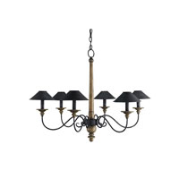 Currey & Company Masterwork 6 Light Chandelier in Mole Black and Weathered Wood 9365