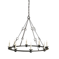 Currey and Company Rooney 8 Light Chandelier in Old Iron 9366