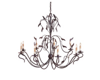 Currey & Company Arcadia 9 Light Chandelier in Hand Rubbed Bronze 9370