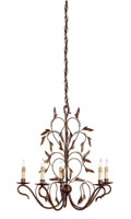 Currey & Company Arcadia 5 Light Chandelier in Hand Rubbed Bronze 9371