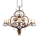 Currey & Company Dominion 12 Light Chandelier in Cupertino/Gold Leaf 9372