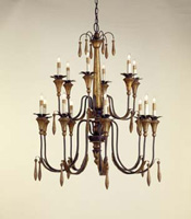 Currey & Company Parisienne 15 Light Chandelier in Rust/Gold Leaf 9381