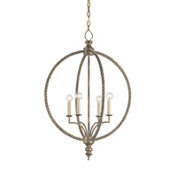 Currey & Company Marcello 4 Light Chandelier in Nevo Oro Antico 9385