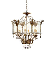 Currey & Company Zara 6 Light Flush Mount in Viejo Gold/Silver 9387