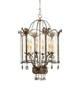 Currey & Company Zara 6 Light Pendant in Viejo Gold/Silver 9388