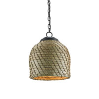 Currey & Company Beehive 1 Light Pendant in Old Iron and Natural 9393