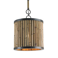Currey & Company Averett 1 Light Pendant in Bronze and Natural 9394