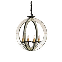 Currey & Company 9400 Meridian 4 Light 18 inch Old Iron/Antique Mirror Chandelier Ceiling Light